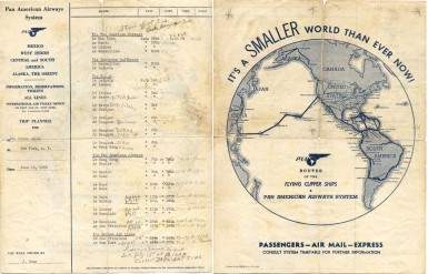 Clara Adams Around-the-World itinerary, 1939.