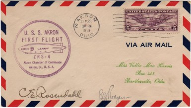 First Flight of USS Macon, autographed by Charles E. Rosendahl