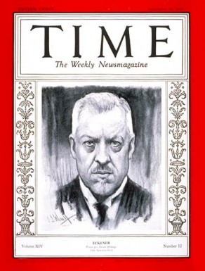 Eckener on the cover of Time Magazine, September, 1929.