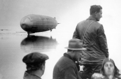 Graf Zeppelin landing on water during polar flight