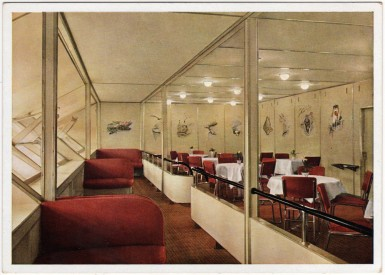 Port Promenade of Zeppelin Hindenburg, showing Dining Room